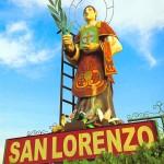 Imagen de San  Lorenzo en la entrada de la ciudad.