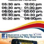 Horarios de servicio de Transportes Rey Express de Lunes a Domingo.