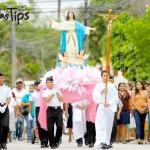 Peregrinacion de la Virgen de La Asunción en la feria patronal de Puerto Cortés.