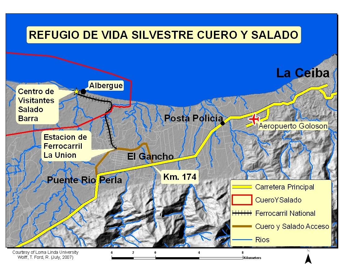 Para llegar al refugio debe tomar el desvío de La Unión, El Porvenir, carretera La Ceiba a Tela.