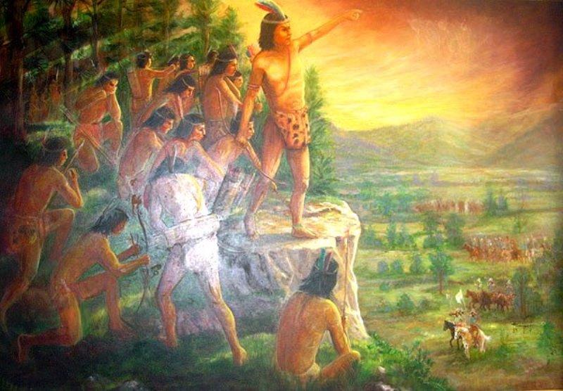 Representación de la hidalguía del Cacique Lempira.