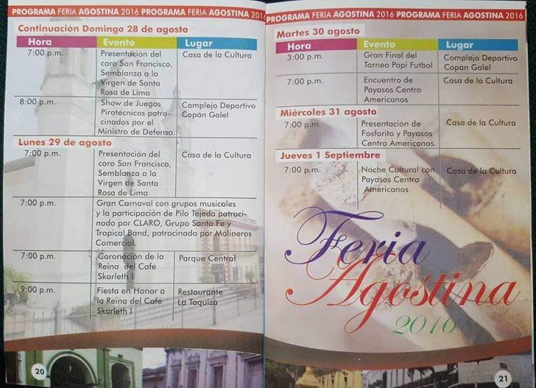 Calendario de última semana de la Feria Agostina en Santa Rosa de Copán.