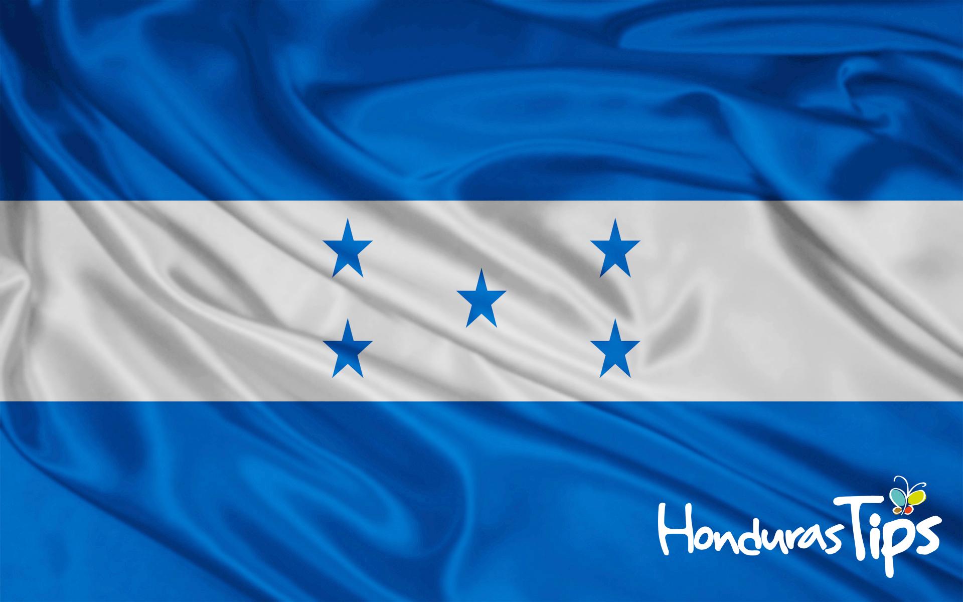 Bandera oficial de la República de Honduras desde 1949.