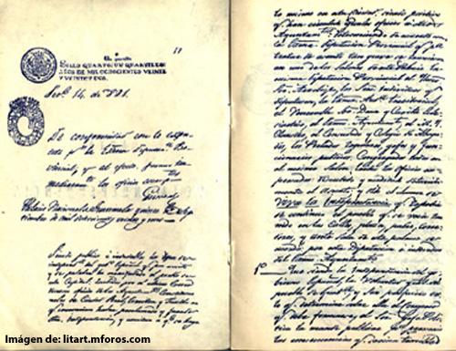 Primera página del Acta de Independencia.