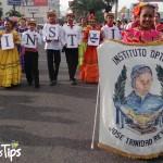 El insigne colegio sampedrano José Trinidad Reyes encabezó el evento con su grupo de danza folclórica.