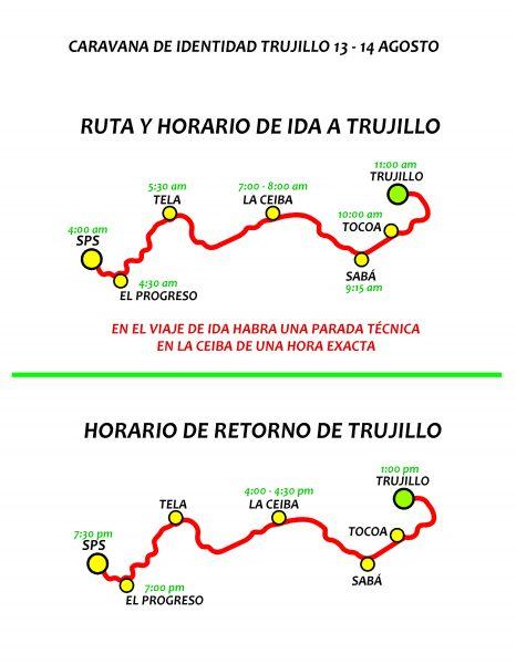 El recorrido trazado de San Pedro Sula y El Progreso hacia Trujillo, cuenta con una proyección de tiempos para llegar a las 11:00 AM al destino final.