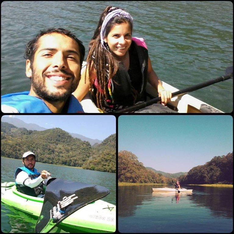 Haciendo kayak en Lago.