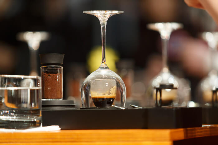 MELBOURNE, 25 May: The signature drinks of William HERNANDEZ from El Salvador competing in the semifinals and winning a spot in the final 6 competitors of the 2013 World Barista Championship at the Melbourne Show Grounds in Melbourne, Australia. The national champions of Australia, Italy, Ireland, New Zealand, United States and El Salvador made the final after 3 days of competition with the national barista champions of 52 countries.. Photo Sydney Low / syd-low.com