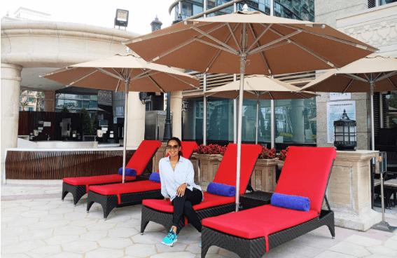 Viany Dixon en su hospedaje en el hotel de China.