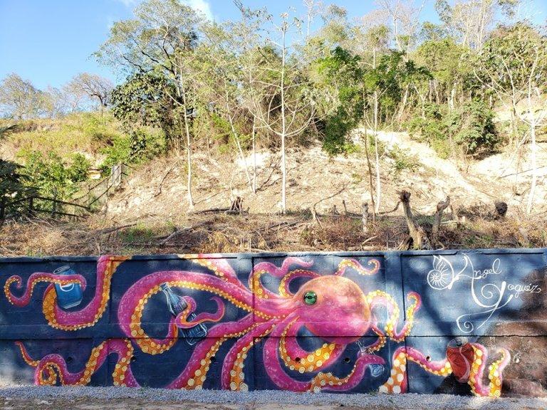 El mensaje ambiental se marca en cada pintura, como este pulpo que recoge la basura del hombre.