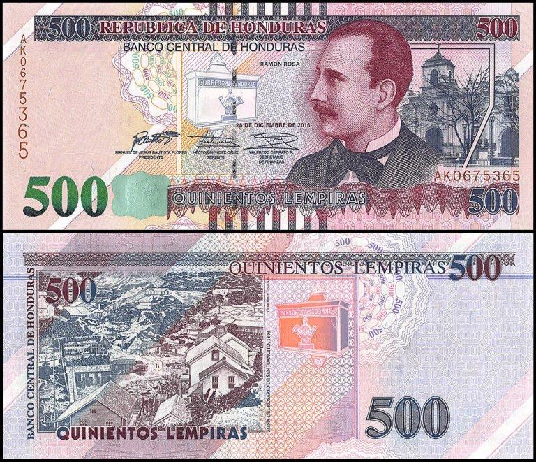 500 lempiras. el billete más reciente emitido en Honduras.