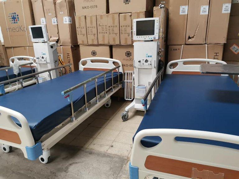 Camas y respiradores para pacientes con Coronavirus.